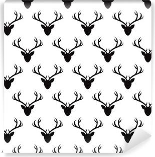 Vinylová Fototapeta Bezproblémové vzorek s jelení hlavy siluety. Vektorové bezešvé textury pro tapety, vzor výplně, webová stránka zázemím