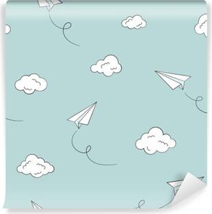 Vinylová Fototapeta Bezproblémové vzorek s papírovými letadla a mraky