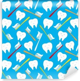 Fototapeta winylowa Białe zęby i kolorowe szczoteczki do zębów.
