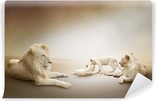 Vinylová Fototapeta Bílého lva rodina
