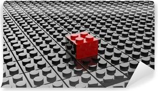 Vinylová Fototapeta Black lego pozadí s jednou červenou blok stojící mimo
