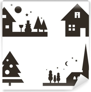 Fototapeta winylowa Boże Narodzenie sylwetki: Krajobraz, Boże Narodzenie, ...