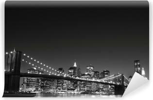 Vinylová Fototapeta Brooklyn Bridge a Manhattan Skyline v noci, New York City