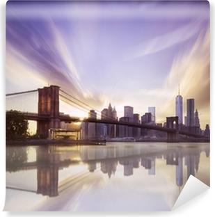 Vinylová Fototapeta Brooklyn bridge západ slunce