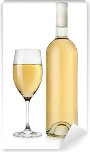 Naklejka Butelka Białego Wina I Kieliszek Do Wina Pixers żyjemy