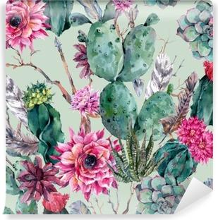 Vinylová Fototapeta Cactus akvarel bezešvé vzor v Boho styl.