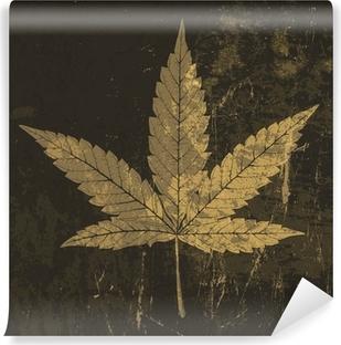 Vinylová Fototapeta Cannabis leaf grunge ikona. S obarvený textura, vektor