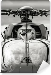 Vinylová Fototapeta Černá a bílá vojenský vrtulník kokpitu detailní