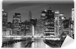 Vinylová Fototapeta Černobílá fotografie Manhattan nábřeží, NYC, USA.