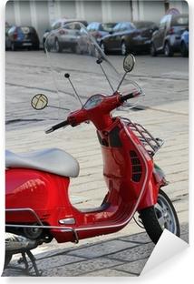 Vinylová Fototapeta Červená koloběžka s italskou vlajkou