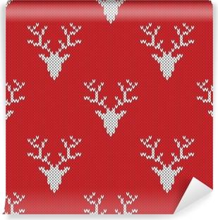 Obraz na plátně Červený pletený svetr s jeleny bezproblémové vzor ... 6c8633d748