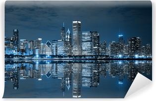 Vinylová Fototapeta Chicago centru města v noci
