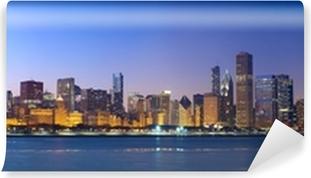 Vinylová Fototapeta Chicago panorama panorama přes Lake Michigan a západ slunce, IL, USA