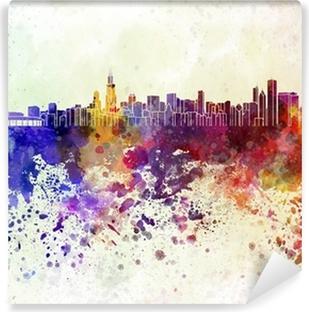 Vinylová Fototapeta Chicago skyline v akvarelu pozadí