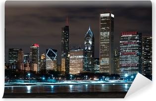 Vinylová Fototapeta Chicago v noci Skyline