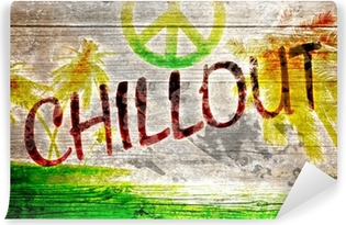 Vinylová Fototapeta Chillout Grafitti auf altem Holzbrett