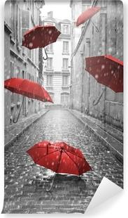 Fototapeta winylowa Czerwone parasole latające na ulicy. Koncepcyjne obraz