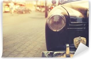 Vinylová Fototapeta Detail světlometů klasické auto zaparkované v městském - výběrový efekt filtru stylu