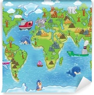 Vinylová Fototapeta Děti mapa světa
