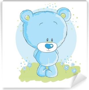 Vinylová Fototapeta Dětská modrá medvěd