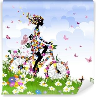 Vinylová Fototapeta Dívka na kole venku v létě