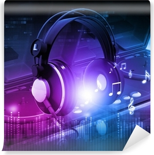 Vinylová Fototapeta Dj mixer se sluchátky na uších, dj večírek pozadí.
