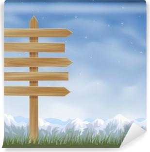 Fototapeta winylowa Drewniane post znak ze strzałkami przeciwnych kierunkach