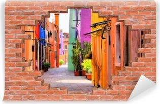 Fototapeta winylowa Dziura w murze - Kolorowa ulica w Burano. Włochy.