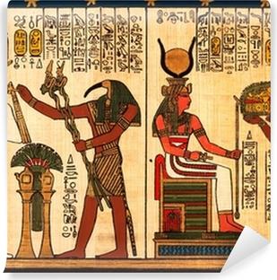 Fototapeta winylowa Egipski papirus z antykami hieroglify
