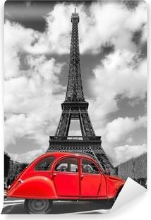 Vinylová Fototapeta Eiffelova věž s červeným staré auto v Paříži, Francie