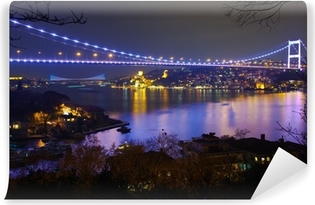 Vinylová Fototapeta Fatih Sultan Mehmet Bridge v noci 6