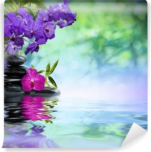 Vinylová Fototapeta Fialové orchideje, černé kameny na vodě