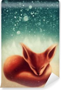 Vinylová Fototapeta Fox spí v zimním lese