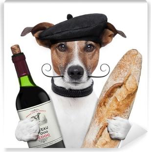 Fototapeta winylowa Francuski beret bagietki wina psa