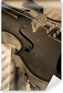 Vinylová Fototapeta Geige auf Noten