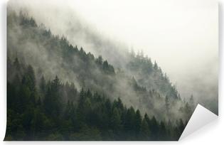 Fototapeta winylowa Górskie drzewa we mgle