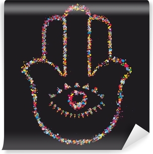 Vinylová Fototapeta Grunge stylizovaný barevné Hamsa na černém pozadí - vektor