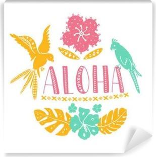 Fototapeta winylowa Hawaiian elementów. Aloha słowo z tradycyjnymi wzorami, tropikalnych liści i kwiatów, dwie papugi. ilustracji wektorowych lato