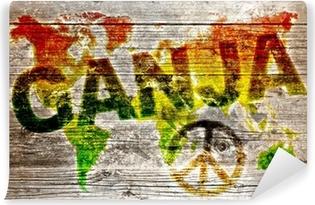 Vinylová Fototapeta Holzbrett - Ganja a mír pro celý svět
