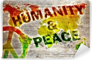 Vinylová Fototapeta Holzschild - Lidstvo a mír pro celý svět