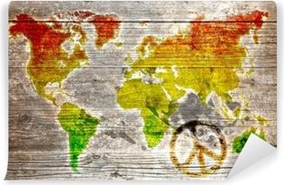 Vinylová Fototapeta Holzschild - Rasta worldmap symbol míru