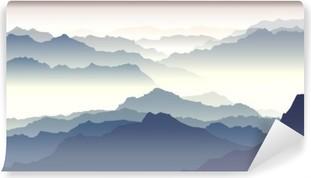 Vinylová Fototapeta Horizontální ilustrace soumraku v horách.