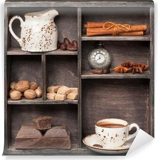 Vinylová Fototapeta Horká čokoláda a koření. Vintage set v dřevěné krabici. Сollage