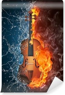 Vinylová Fototapeta Housle v ohni a vodě