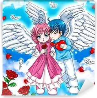 Fototapeta winylowa Ilustracja para aniołów w chmurach