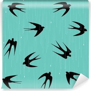 Fototapeta winylowa Jaskółki w deszczu wzór / tło