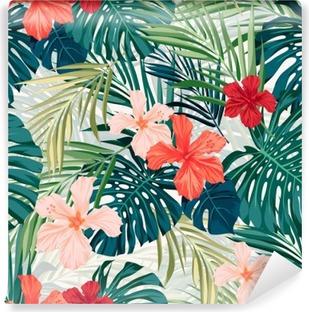 Fototapeta winylowa Jasne kolorowe tropikalnych szwu tła z liśćmi i
