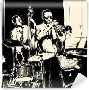 Vinylová Fototapeta Jazz band s kontrabasista klavír trubku a bicí