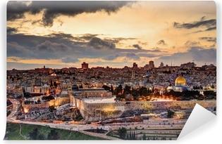 7349a6a7b Fototapeta winylowa Jerozolima starego miasta skyline