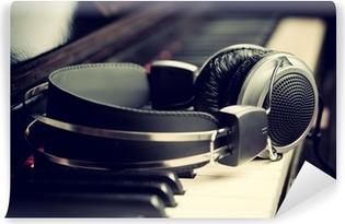 Vinylová Fototapeta Klavírní klávesnice a sluchátka